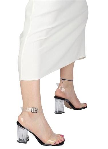 Modabuymus Modabuymus   Bilek Bantlı Şeffaf Topuklu Sandalet - Savanu Siyah